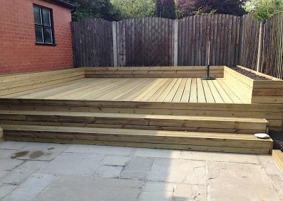 Built up decking area
