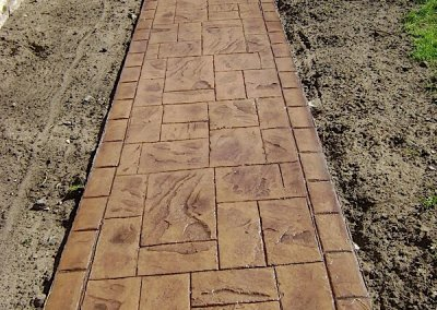 printed concrete pathway