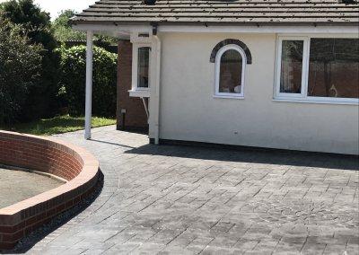 Pressed concrete driveway