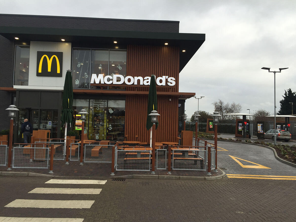 McDonalds pattern imprinted concrete drive through