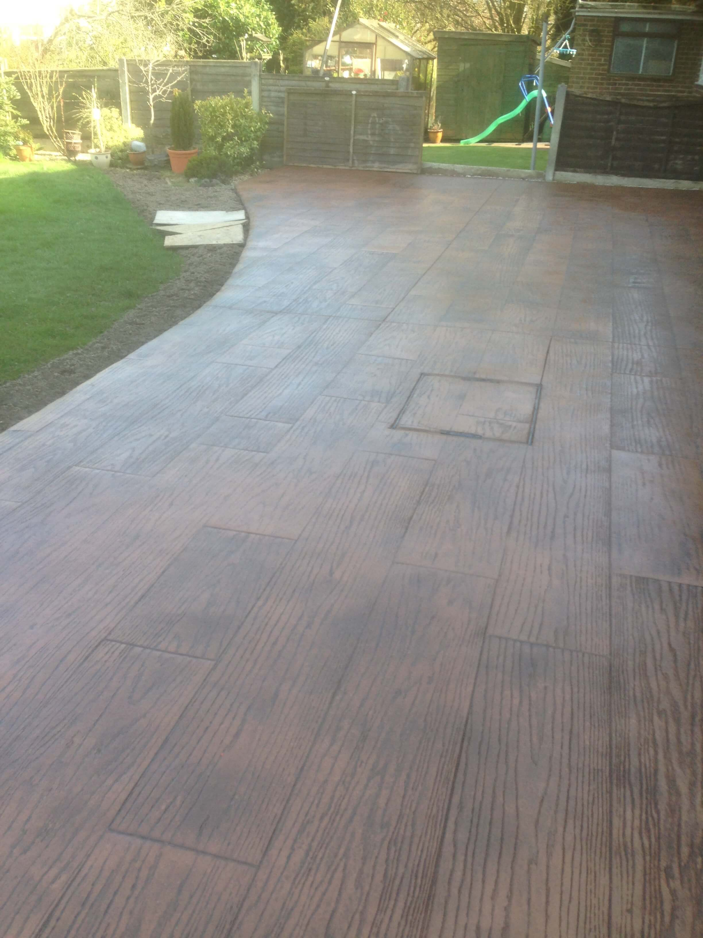 Concrete decking printed patio