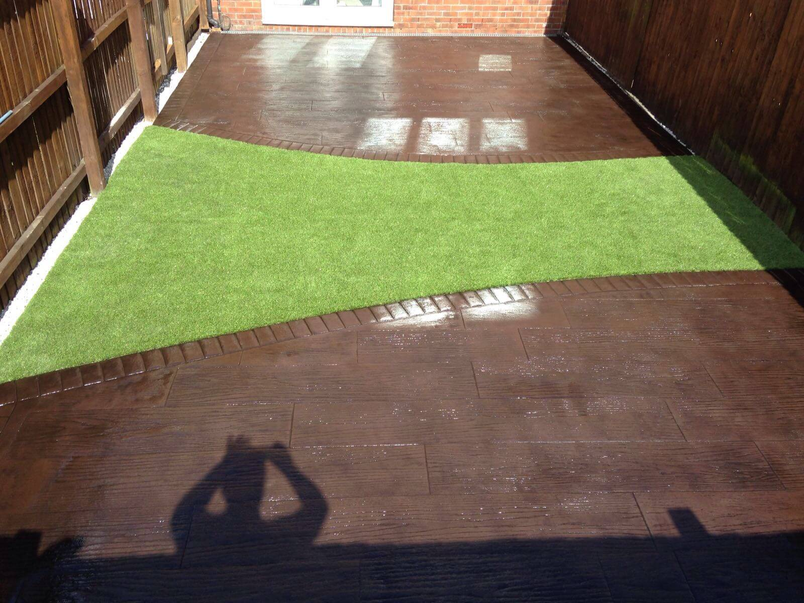 After concrete decking patio installation