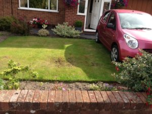 Car parked on grass, widen driveway