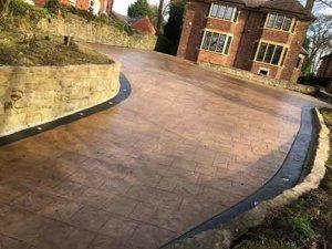 Pattern Imprinted Concrete Driveway Installation