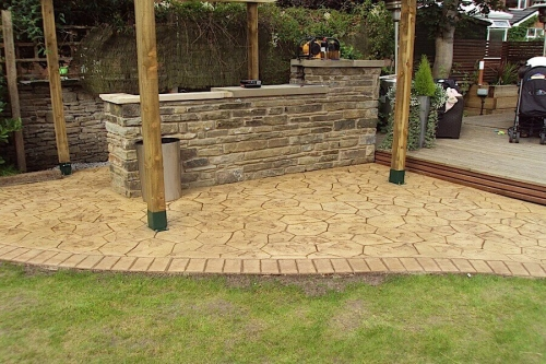 printed concrete patio in Bury