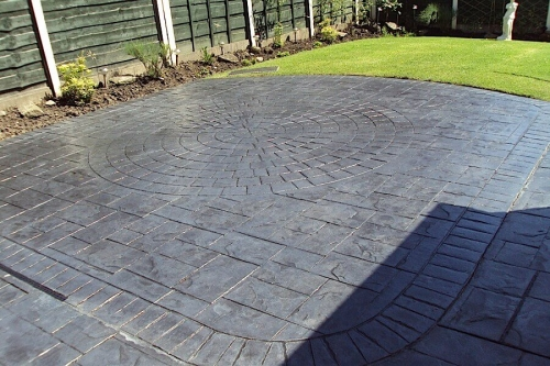 Printed concrete pation in Bury