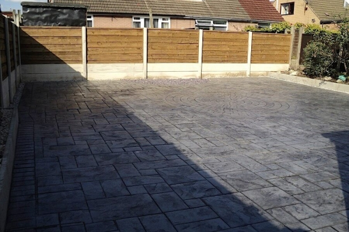 concrete patio and fencing